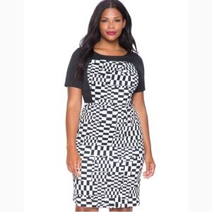 Eloquii Black and White Print Dress with Sleeves
